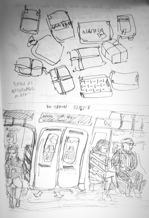 sketch of people on a subway.