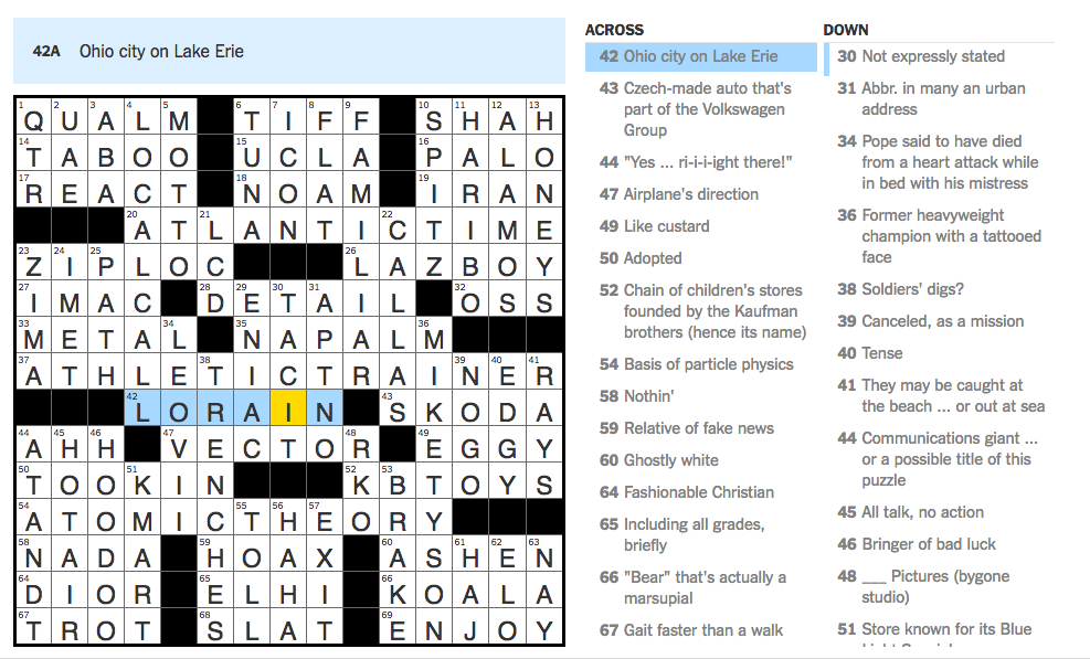 Nyt crossword solution today